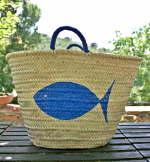 Borsa paglia pesce blu